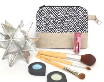 Indigo makeup bag, indigo make up case, kimono cosmetic case, gorgeous accessory bag  - indigo floral kimono fabric