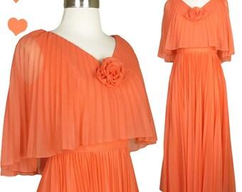 Vintage 70s Dress // Mike Benet Peach Pleated Chiffon Party Dress S Cape Light Orange Pleats Full Skirt Empire Waist Boho Hippie 1970s Maxi