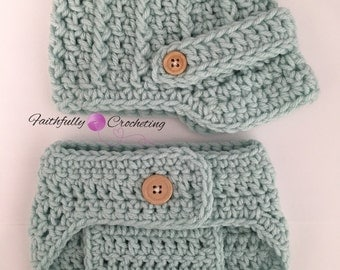 Newborn newsboy hat.. brim hat... diaper cover... photography prop.. newborn boy prop.. ready to ship