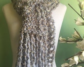 Hand Knit Long Silver and Gold Warm and Festive Scarf