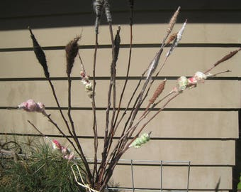 Cattail Fiber Art Handspun Yarn Bouquet Apple Branch Center Piece Mulberry Branch Art Yarn Alpaca My Farm Apple Mulberry Bundle Tall branch