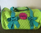 Sale Personalized Lime Green Aqua trim meduim size Quilted duffle tote bag