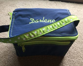 Sample Sale AS IS Navy blue green trim  Lunch tote bag box -Monogrammed with Darlene---Ready to ship Immediately