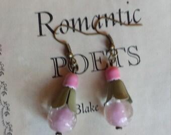Pink flower vintage beads dangle earrings