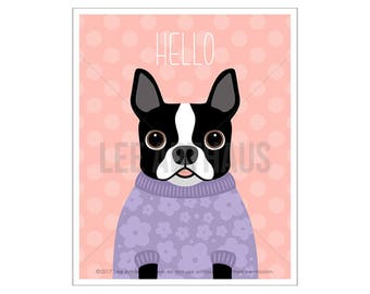 68D Dog Wall Art - Hello Print - Boston Terrier in Purple Flower Sweater Wall Art - Boston Terrier Wall Art - Dog Portrait - Dog Prints