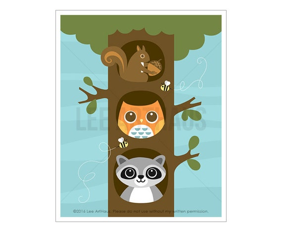 85A Woodland Nursery Decor - Squirrel Raccoon and Owl Wall Art - Owl Print - Raccoon Art - Squirrel Print - Woodland Creatures - Owl Decor