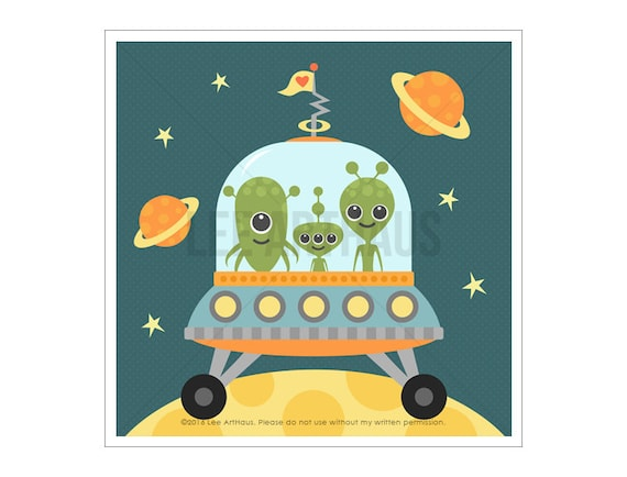 81A Outer Space Print - Aliens in Spaceship Wall Art - Baby Boy Nursery Print - Boy Bedroom Decor - Art for Children - Art for Boys Room
