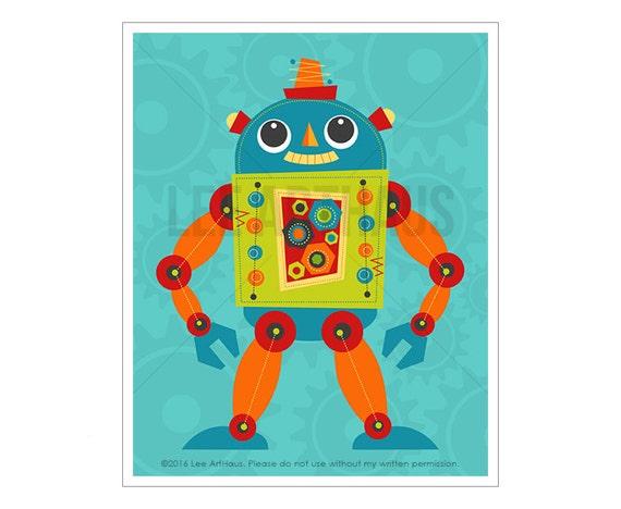Robot Print - Robot 1 Wall Art - Robot Nursery Print - Robot Wall Art - Baby Boy Nursery Wall Art - Robot Baby Boy Nursery Art - Cool Robot