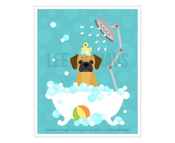 198D Bath Art Prints -  Puggle in Bubble Bath Bathtub Wall Art - Puggle Drawing - Cute Puppy Print - Bathroom Decor - Puggle Print