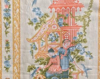 vintage Waverly Shantung fabric yardage - Asian kitsch chinoiserie home decor fabric - 3.25 yards