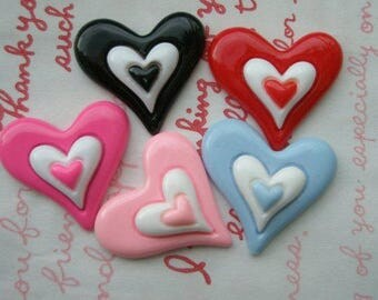 SALE Colorful Pointy heart cabochons 5pcs