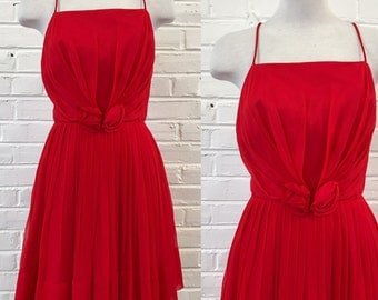 Vintage 1950s Lipstick Red Chiffon Party Dress with Rosettes by SABA Juniors, size XS