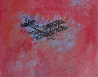 Red Baron Flies Again -  original painting, fine art by Irene Stapleford - wantknot shop