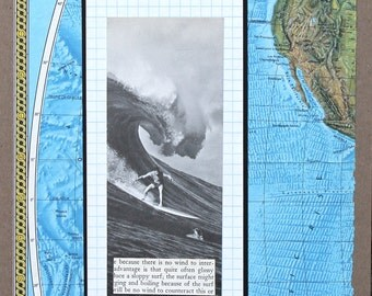 Original OOAK Analog Surfing Collage with Map
