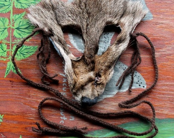 Coyote mask - real eco-friendly coyote fur mask headdress with braided yarn cords for ritual, dance, costume and more