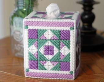 PATTERN: Quilted Tissue Box Cover in Plastic Canvas