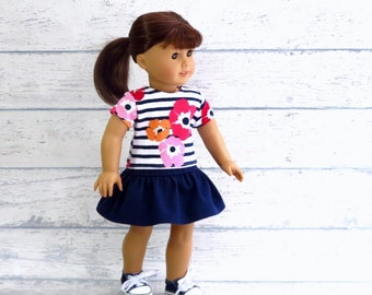18 inch Doll Outfit, Striped Floral Top M2M Gymboree, Tiered Navy Skirt