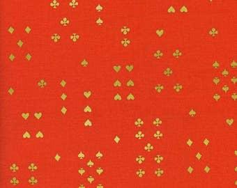 Follow Suit Orange Metallic - Wonderland - Anna Bond Rifle Paper Co - Cotton + Steel - 8021-02