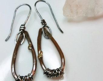 Rustic Teardrop Earrings, Copper, Sterling Silver, Lightweight, Boho, Free Spirit Jewelry, Hippie Earrings, Oxidized, Wire Wrapped Earrings