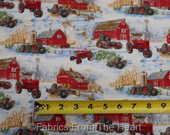Farmall Tractors International Harvester Red Barn in Snow BY YARDS Cotton Fabric