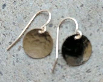 """3/8"""" Hammered Gold-Filled Disc Earrings on GF Wires"""