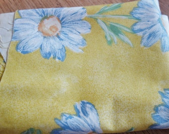 vintage yellow curtain fabric 2 yds 56 inch wide