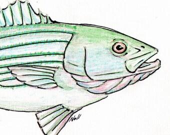 8x10 Striper Striped Bass Art Print, Printable Fish Art, Saltwater Gamefish Poster, Printable Wall Art, Home Decor, Instant Digital Download