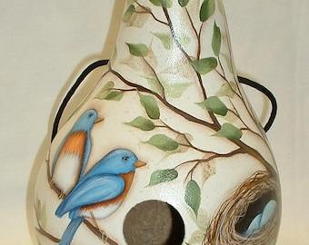 Blue Birds with Birds Nest Gourd Birdhouse - Hand Painted Gourd