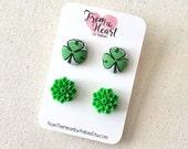 St. Patricks Day Fabric Button Earrings, Irish, St. Pattys Day, Stud Earrings, Button Jewelry, Earrings, Clover Earrings