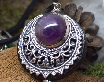 """Amulet Protection Necklace Pendant """"Lleuad"""" Amethyst Moon Wicca - Wood Silver-Filled Brass Gemstone - Pagan Triple Goddess"""