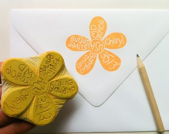 Flower return address stamp, hand carved rubber stamp, handmade rubber address stamp