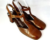 Vintage 60s T-Strap Mary-Jane Heels | 1960s Brown Leather Pumps | New Stock | Never Worn |  Size 8