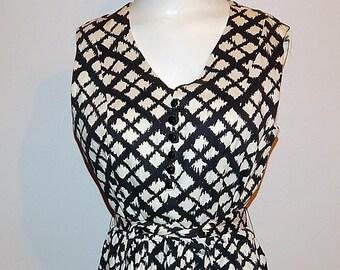 Vintage 50s black white cotton diamond print day dress L XL