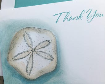Sand Dollar Thank You Note Cards, Sea Shell Thank You Notes, Nautical Thank you Notes, Sand Dollar Thank You Stationery, Sea Shell ThankYous