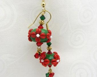 Christmas Lampwork Earrings Glass Artisan Earrings Red White and Green Earrings Gold Festive Earrings Red Flower Earrings SRAJD USA Handmade