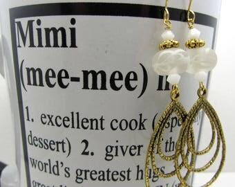 Lampwork Earrings White Swirl Earrings Glass Bead Earrings Dangle Drop Earrings Antiqued Gold Triple Teardrop Charm SRAJD Mothers Day Gift