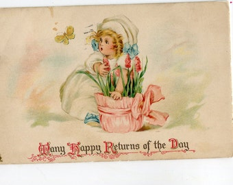 Happy Birthday, Little girl, flowers, butterfly Lovely vintage Birthday greetings postcard, Tuck's postcard
