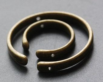 2 Sets Antique Brass Tone Base Metal - Half Circle - Open Circle (40273Y-L-117)