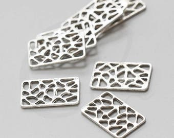 18 Pieces Oxidized Silver Tone Base Metal Links-Rectangle 24x15mm (2175X-H-161A)