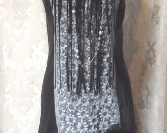 Holiday Sale 30% Off FLAPPER Gatsby 1920s Fringe Downton Abbey Roaring 20s - Vintage Slip Make Over - Black and Gray