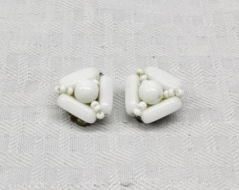 1950s Vintage Beaded Milk Glass Cluster Earrings Clip On Style