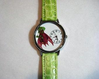 Women's Watch, Wrist Watch for Women, Fuchsia with Baby's Breath, Pressed Flower Watch, Women's Wrist Watch, Bridesmaid Gift,Retirement Gift