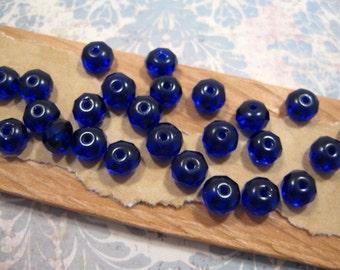 Czech 6x4mm BlueGlass Rondelle Beads - 25 Count