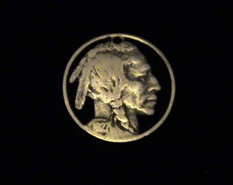 Indian Head Nickel - cut coin pendant / charm - Hobo Art Classic - 1927
