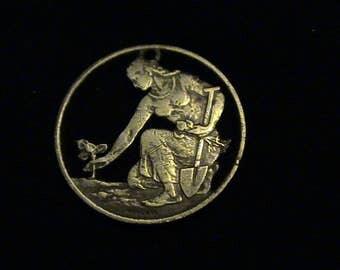 Czechoslovakia - cut coin pendant - w/ Woman Farming Linden - 1980