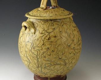 Pottery, Handmade, Golden Ash-Glazed, Stoneware, Carved Oak Leaf Jar With Acorn Knobs and Deep Oak Leaf Stamps