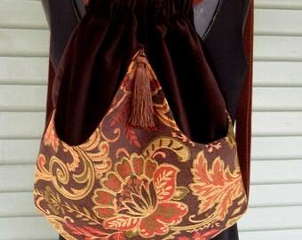 Brown Floral Backpack Boho Backpack  Renaissance Backpack  Brown Book Bag  Backpacks  Back Pack