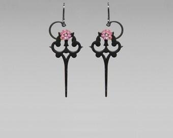 Steampunk Earrings with Pink Swarovski Crystals, Steampunk Earrings, Rose Swarovski , Pink Earrings, Statement Jewelry, Artemis II v4