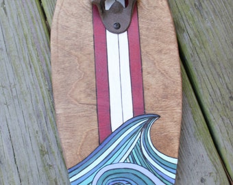 Handmade Wooden Surfboard Bottle Opener - Tiki Bar Decor - Beer Bottle Opener