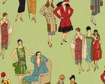 FABRIC GLAMOUR GIRLS Women of the 1920's Fashion  We combine shipping  See the Matching Blocks for this fabric